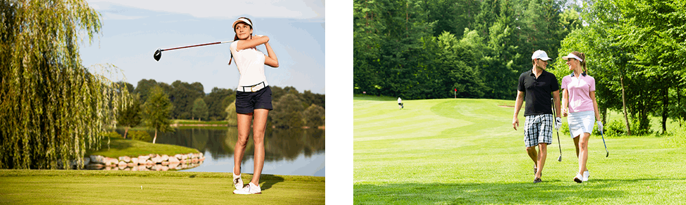 picture of woman playing golf and couple walking on golf course
